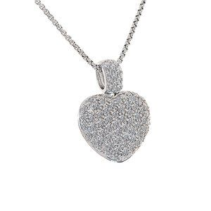 2.00 Carat Pave Set Round Diamond Heart Pendant
